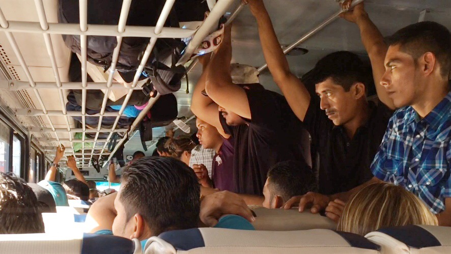 A crowded chicken bus in Nicaragua.